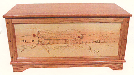 woodburning panel toybox of oak