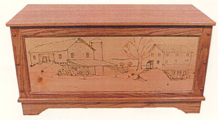 farm scene toybox with woodburned panel