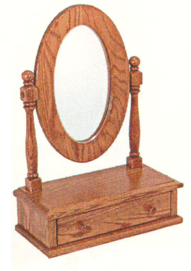 solid oak vanity mirror with drawer made by the amish