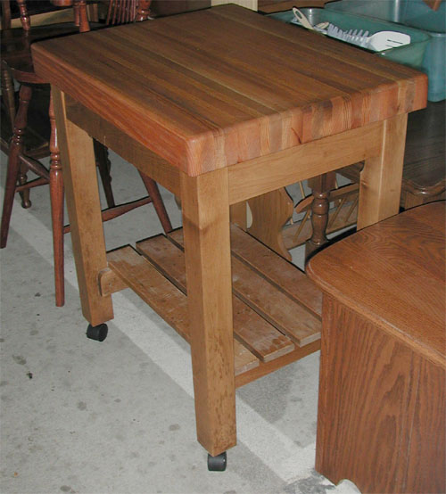 amish solid oak and maple butcher block table, with shelf