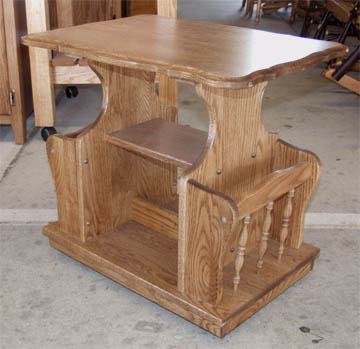 Amish oak Magazine Stand with casters