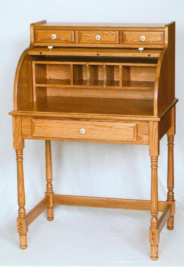solid oak mini roll top desk, made by the Amish