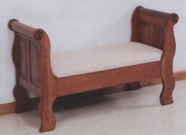 Amish made raised panel sleigh seat - in oak or cherry