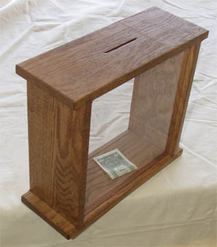 solid oak bank with glass sides