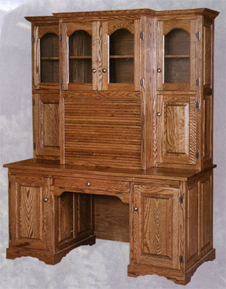 roll top computer hutch desk - amish made of solid oak