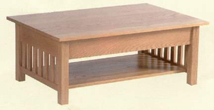 Solid oak mission coffee table clayborne39s of sc for Amish oak coffee table