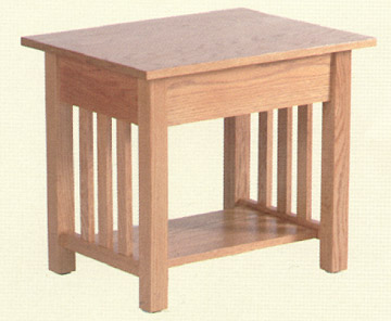 amish made solid oak mission style end table