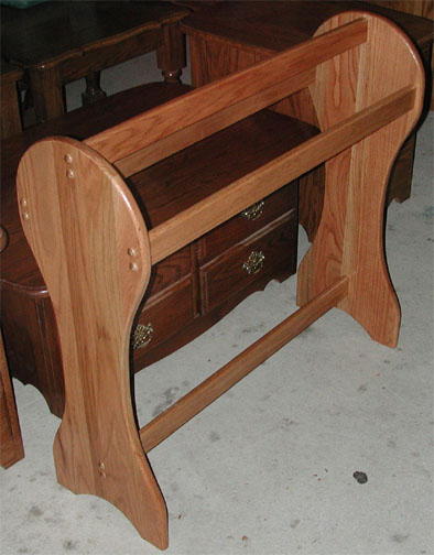 solid oak amish quilt rack with flat sides