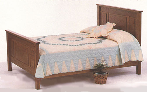 amish briarwood raised panel bed in solid oak