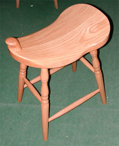 solid oak western style saddle seat stool with horm made by the Amish