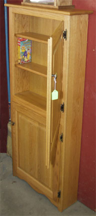 Solid oak VHS video storage cabinet, made by the Amish.